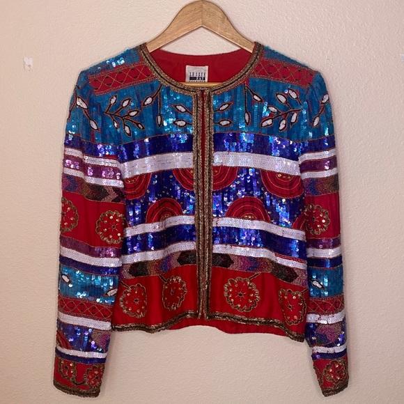 Leslie Fay Vintage 100% Silk Jacket Medium